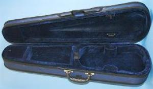 Good quality Student Case with a styrene core covered with a blue waterproof fabric. Room for two bows and includes a compartment for rosin, and a velcro strap to hold the violin. Lined with deep blue velour. Full Size