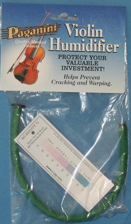 Paganini Humidifier. Clever little gadget that you soak with water and feed into your violin through the f hole. Stops your violin drying out and cracking in hot dry weather. Includes a hygrometer test strip so you know when to use it.