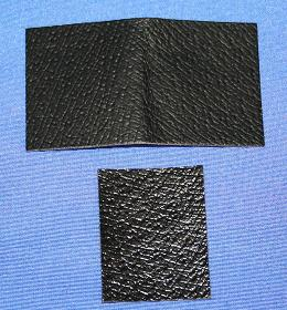 Pre-cut patches of thin leather to replace worn out bow grips. The small patch goes directly onto the bow and provides a filling to the larger patch which is glued over the top.