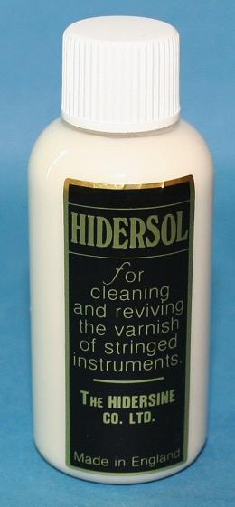 Hidersol does what it says on the bottle. Made by Hidersine it cleans and revives varnish. Good for removing rosin residue but should be used sparingly, especially on expensive violins.