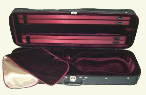 Good value oblong Violin Case, Space for four bows, a velcro strap to hold the violin and a cover to protect it. Lovely deep red, soft lining and hardwearing waterproof fabric cover. A very attractive case. Full Size Only