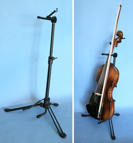 Want to do more practice? put your violin on a stand then you can pick it up in passing and do a few minutes playing. Ideal for practice room and stage.  Black powder coated steel folding frame with soft rubber coated supports for the violin. Also holds the violin bow as you can see from the picture. Adjusts to support all sizes of Violin, will probably suit a Viola too.
